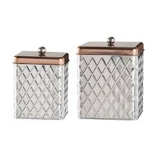 Stainless Steel Canisters Kitchen Amazon Com Amici Madagascar Square Metal Diamond Canister