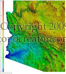 Arizona Map Cities by Topocreator Create And Print Your Own Color Shaded Relief