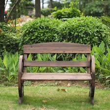 Rustic Outdoor Furniture by Wagon Wheel Bench Rustic Patio Garden Outdoor Wood Furniture