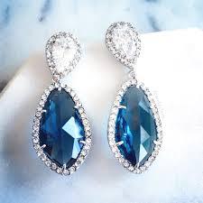 cubic zirconia earrings turquoise wedding bridal earrings aqua blue sterling silver cz
