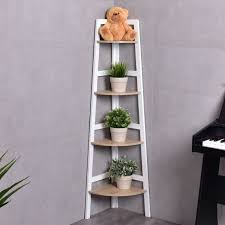 Corner Bookcase 4 Tier Wood Corner Bookcase Ladder Shelf Wall Unit Bookshelf
