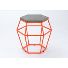 bout de canapé m bout de canapé hexagonale moderne plateau en béton et métal orange