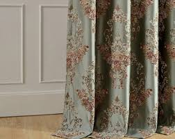 Floral Jacquard Curtains Damask Curtains Etsy