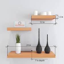 set of 3 floating wall shelf display rack bavarian beech