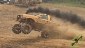 Ford Diesel Trucks Mudding - stroked out diesel wgmp race and dam jump youtube