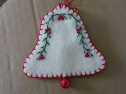 sweet embroidered bell christmas ornament with jinglebell 3 00