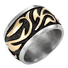 mens stainless steel rings style stainless steel 14mm golden for mens ring best