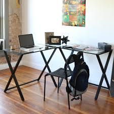 Glass Corner Desks Lshaped Glass Corner Computer Desk Walker Edison Trendy Size