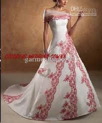 Red And White Wedding Dresses Discount Elegant Off The Shoulder A Line Lace Up Back Court Train