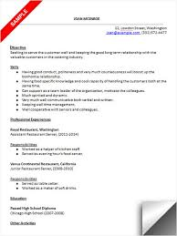 Food Industry Resume Examples by Restaurant Server Resume Sample