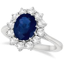 blue sapphires rings images Oval blue sapphire diamond accented ring 18k white gold 3 60ct jpg