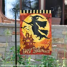 halloween with witch garden flag
