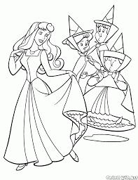 Coloriage  Princesse Aurora et Fées