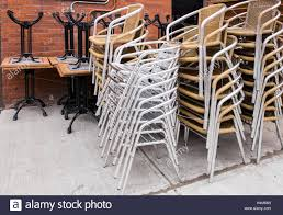 Stackable Wicker Patio Chairs Furniture Silver Legged Bistro Chairs With Brown Plastic Wickers
