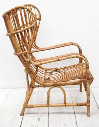 Wingback Wicker Chair Cane And Bamboo Barrel Back Chair With Cushion Ebth Hastac 2011