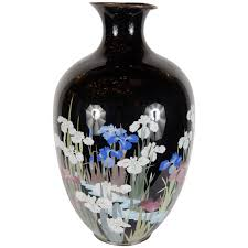 Hand Painted Chinese Vase Exquisite Hand Enameled Chinese Vase Of Iris In A Water Lily Pond