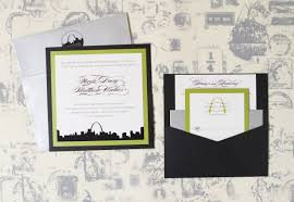wedding invitation pocket louis city skyline wedding invitation pocket card