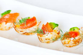 easy cheap canapes potato canapés with avocado and salmon tatyanas everyday food