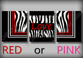 Zebra Decor For Bedroom Red Or Pink Zebra Print Wall Art Decor Love Room Black