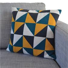 Patterns For Knitted Cushion Covers Triangles Cotton Knit Cushion Three Colourways Decorating
