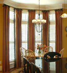 stylish window treatents for high windows with brown tall curtain