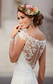 wedding dress lace back and sleeves illusion cap sleeves sheer lace back mermaid wedding dress