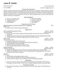 Psychology Resumes Psychology Resume Sample Admission Resume Teach For America