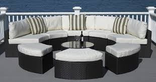 Half Round Sofas Outdoor Wicker Furniture With Red Pillows And Half Round Design