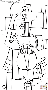 cow and violin by kazimir malevich coloring page free printable