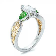 peridot engagement ring custom two tone and peridot engagement ring 100674
