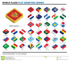 flags of the world m s 3d isometric flat icon d stock vector