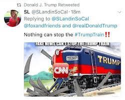 Train Meme - trump shares meme of train running over cnn axios
