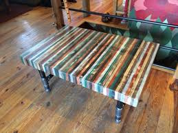 butcher block out of pallet wood coffee table with threaded pipe h
