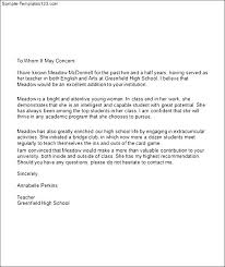 College Letter Of Recommendation From Letter Of Recommendation For College Student Free Resumes Tips
