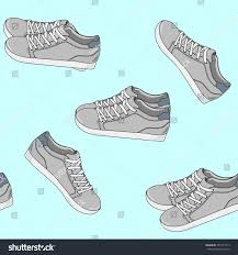 seamless pattern sport shoes sneakers icons stock vector 491721313