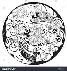 hand drawn outline koi fish tattoo stock vector 615281054