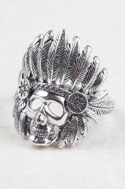 Silver Accessories Skull With Indian Headdress Ring Silver Jewellery At Tree Of Life