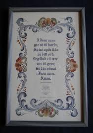 vintage norwegian table prayer folk art painted floral border