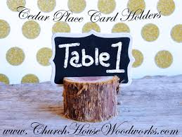 rustic cedar tree place card holders wedding supplies