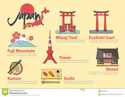Set Of Flat Line Icon And Infographic Element For Japan Travel
