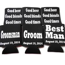 wedding personalized koozies groomsmen koozies bachelor party favors groomsmen gifts