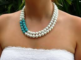 white turquoise necklace images Pearl turquoise statement necklace bracelet and earring set jpg