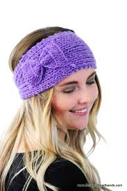 knitted headbands ear warmer headband in purple winter headband knit headband