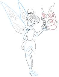 how to draw tinkerbell holding a butterfly with easy to follow