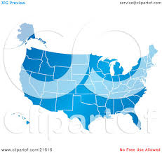 United States America Map by Clipart Illustration Graphic Of A Gradient Blue United States Of