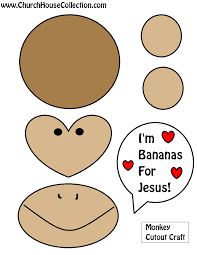 monkey bananas for jesus cutout craft for valentine u0027s day for