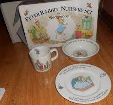 rabbit nursery set by wedgwood 3 pc wedgwood rabbit nursery set porcelain cup plate oatmeal