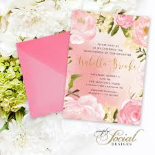 quinceanera party invitations quinceañera invitation birthday peony flowers blush pink and