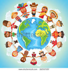 multicultural character on planet earth cultural stock vector
