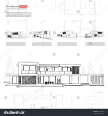 house architecture drawing wireframe blueprint drawing 3d building house stock vector